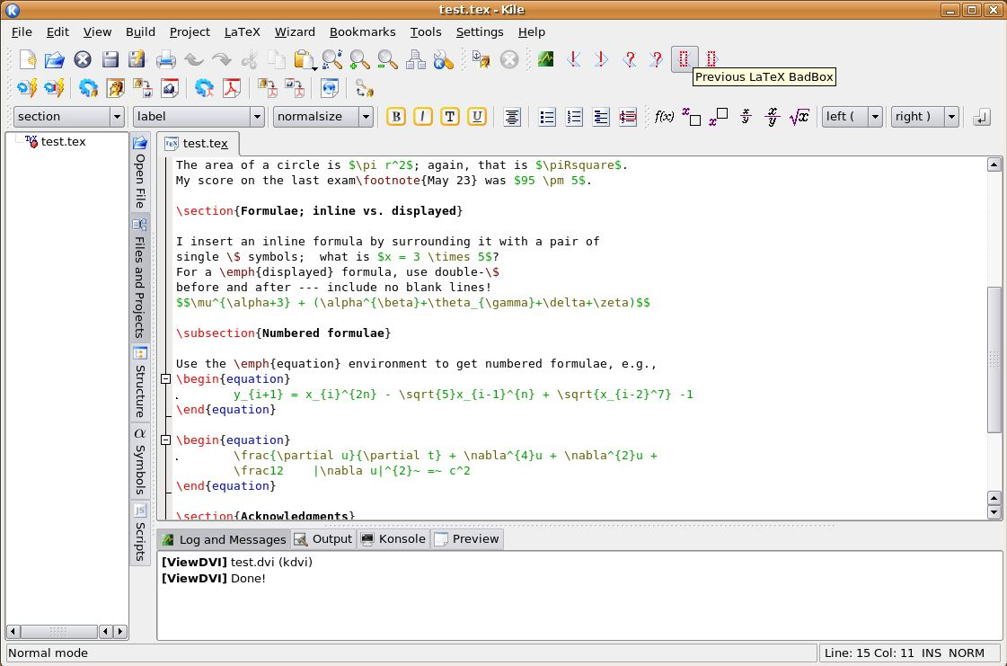 Kile - integrated LaTeX editing environment - LinuxLinks